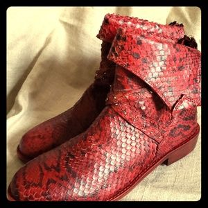 Free People Red Leather Python Ankle Boots